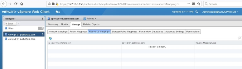 Learn SRM – Part 9 – Configure Inventory Mapping in VMware